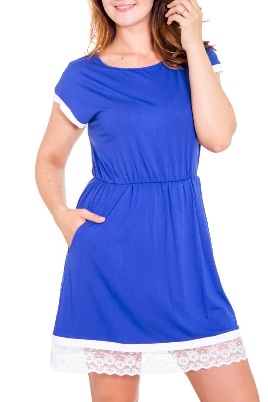 ПлатьеПлатья<br>Элегантное женственное платье для прекрасных дам. Модель твыполнена из приятного материала. Отличный выбор для повседневного гардероба.  Цвет: синий, белый  Рост девушки-фотомодели 180 см.<br><br>Горловина: С- горловина<br>По длине: До колена<br>По материалу: Вискоза,Трикотаж<br>По образу: Город,Свидание<br>По рисунку: Однотонные<br>По сезону: Весна,Осень<br>По силуэту: Полуприталенные<br>По стилю: Винтаж,Повседневный стиль<br>По элементам: С декором,С карманами<br>Рукав: Короткий рукав<br>Размер : 48,50,52,54<br>Материал: Трикотаж<br>Количество в наличии: 1