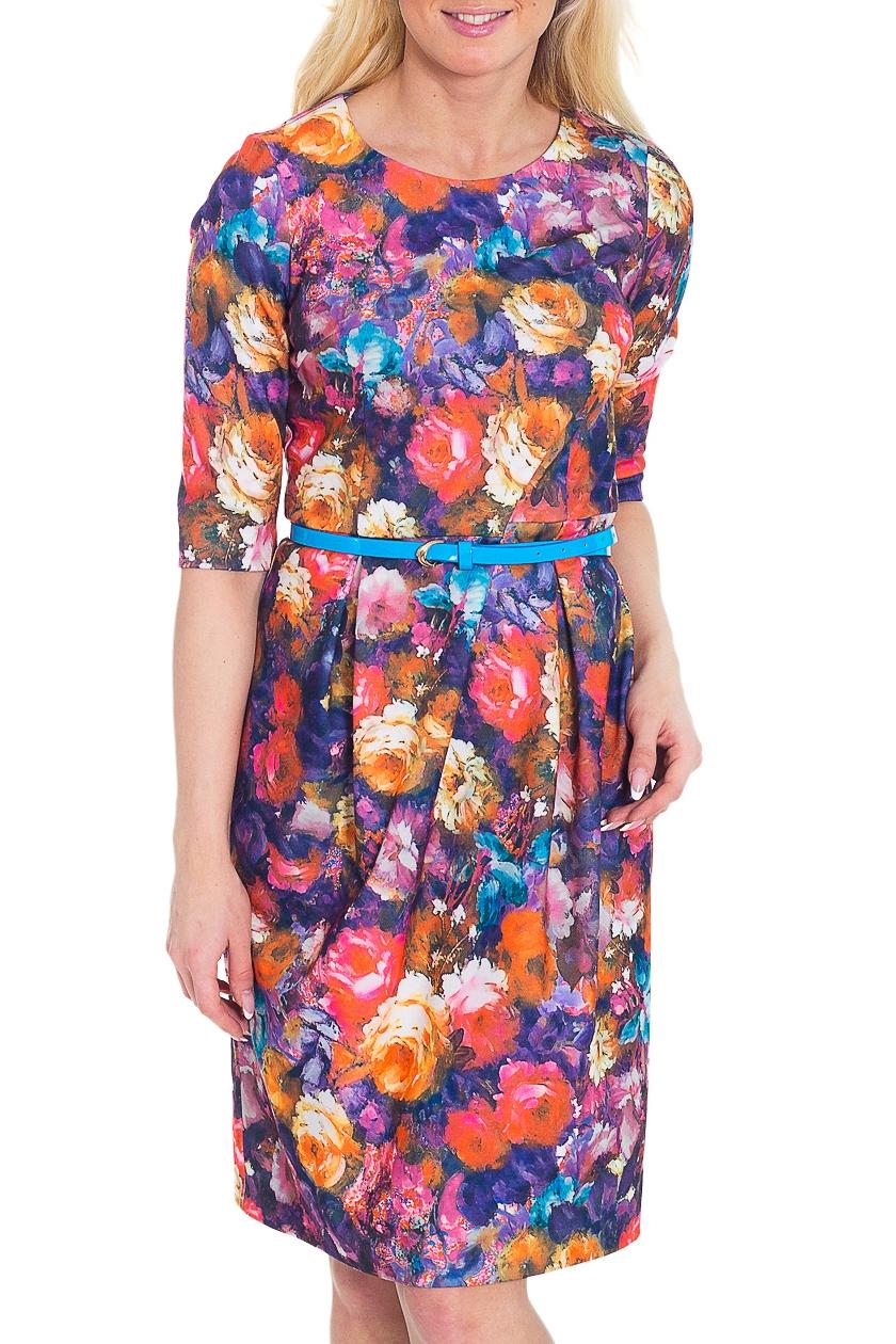 ПлатьеПлатья<br>Повседневное платье с круглой горловиной и рукавами 3/4. Модель выполнена из приятного трикотажа с цветочным принтом. Отличный выбор для любого случая. Пояс в комплект не входит  Цвет: сиреневый, коралловый, оранжевый  Рост девушки-фотомодели 170 см.<br><br>Горловина: С- горловина<br>По длине: До колена<br>По материалу: Трикотаж<br>По рисунку: Растительные мотивы,Цветные,Цветочные<br>По силуэту: Полуприталенные<br>По стилю: Повседневный стиль<br>По форме: Платье - трапеция<br>Рукав: Рукав три четверти<br>По сезону: Осень,Весна,Зима<br>Размер : 44,48<br>Материал: Джерси<br>Количество в наличии: 2