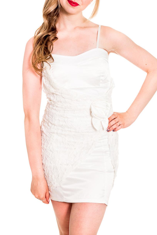 ПлатьеПлатья<br>Нарядное платье на тонких бретелях. Модель выполнена из приятного материала. Отличный выбор для любого случая.  Цвет: белый  Рост девушки-фотомодели 170 см<br><br>По длине: До колена<br>По материалу: Атлас,Гипюр,Тканевые<br>По рисунку: Однотонные<br>По сезону: Весна,Зима,Лето,Осень,Всесезон<br>По силуэту: Приталенные<br>По стилю: Нарядный стиль,Вечерний стиль<br>По форме: Платье - футляр<br>По элементам: С декором<br>Рукав: Без рукавов<br>Размер : 42-44,44-46,46-48<br>Материал: Атлас + Гипюр<br>Количество в наличии: 3