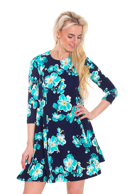 ПлатьеПлатья<br>Прекрасное платье трапециевидного силуэта с круглой горловиной и рукавами 3/4. Модель выполнена из приятного материала. Отличный выбор для повседневного гардероба.  Цвет: синий, голубой  Рост девушки-фотомодели 170 см<br><br>Горловина: С- горловина<br>По длине: До колена<br>По материалу: Вискоза,Трикотаж<br>По образу: Город,Свидание<br>По рисунку: Растительные мотивы,С принтом,Цветные,Цветочные<br>По силуэту: Полуприталенные<br>По стилю: Повседневный стиль,Романтический стиль<br>По форме: Платье - трапеция<br>Рукав: Рукав три четверти<br>По сезону: Осень,Весна<br>Размер : 44,46<br>Материал: Трикотаж<br>Количество в наличии: 3