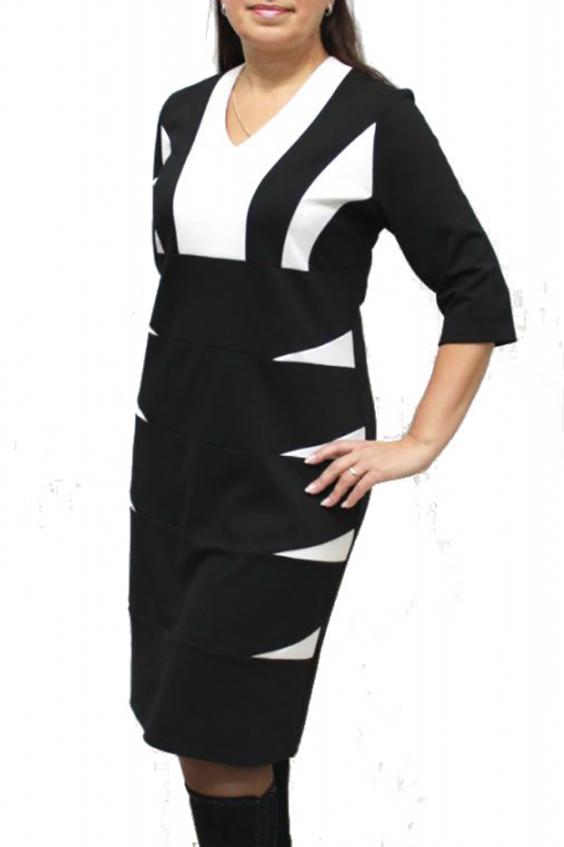 ПлатьеПлатья<br>Красивое платье с контрастными вставками. Модель выполнена из плотного трикотажа. Отличный выбор для любого случая.  Цвет: черный, белый  Ростовка изделия 170 см.<br><br>Горловина: V- горловина<br>По длине: До колена<br>По материалу: Трикотаж<br>По рисунку: Цветные<br>По сезону: Весна,Осень,Зима<br>По силуэту: Полуприталенные<br>По стилю: Офисный стиль,Повседневный стиль<br>По форме: Платье - футляр<br>Рукав: Рукав три четверти<br>Размер : 48,50<br>Материал: Джерси<br>Количество в наличии: 3