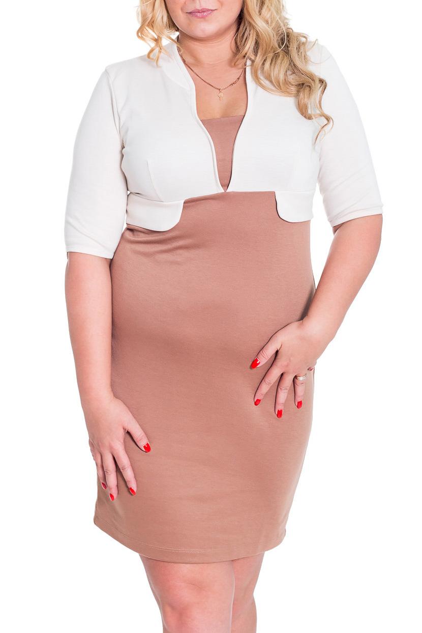 ПлатьеПлатья<br>Замечательное платье с фигурной горловиной и рукавами до локтя. Модель полуприталенного силуэта, выполнена из плотного трикотажа. Отличный выбор для повседневного и делового гардероба.  Цвет: бежевый, белый  Рост девушки-фотомодели 170 см.<br><br>По длине: До колена<br>По материалу: Трикотаж<br>По рисунку: Цветные<br>По стилю: Офисный стиль,Повседневный стиль,Классический стиль,Кэжуал<br>По форме: Платье - футляр<br>Рукав: До локтя<br>По сезону: Весна,Осень,Зима<br>По силуэту: Приталенные<br>По элементам: С завышенной талией<br>Горловина: Фигурная горловина<br>Размер : 44,48,50<br>Материал: Трикотаж<br>Количество в наличии: 5