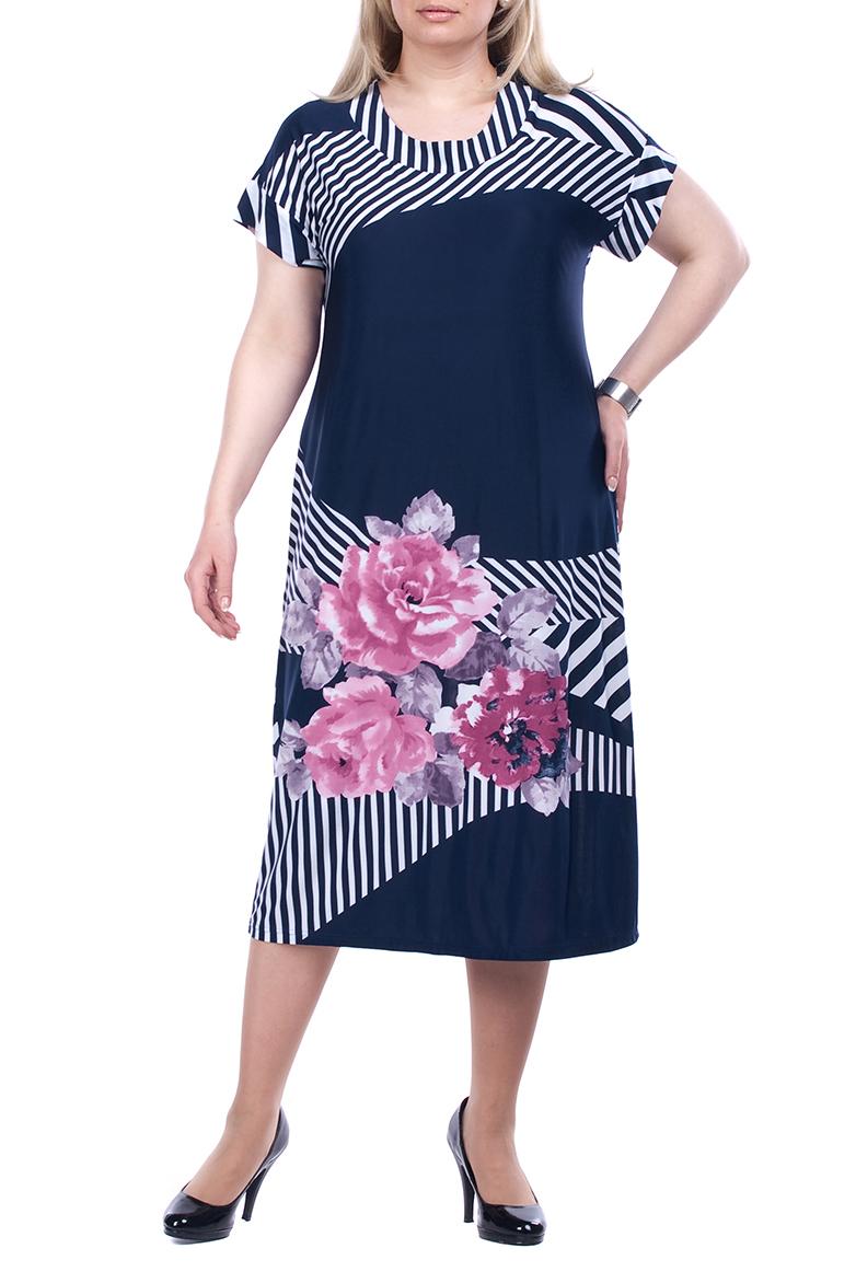 ПлатьеПлатья<br>Великолепное платье с короткими рукавами. Модель выполнена из струящегося трикотажа. Отличный выбор для любого случая.  В изделии использованы цвета: синий, белый, розовый и др.  Рост девушки-фотомодели 173 см<br><br>Горловина: С- горловина<br>По длине: Ниже колена<br>По материалу: Трикотаж<br>По образу: Город<br>По рисунку: В полоску,Растительные мотивы,С принтом,Цветные,Цветочные<br>По силуэту: Полуприталенные<br>По стилю: Повседневный стиль<br>По форме: Платье - трапеция<br>Рукав: Короткий рукав<br>По сезону: Лето<br>Размер : 54,56,58,60,62,64,66,68<br>Материал: Холодное масло<br>Количество в наличии: 23