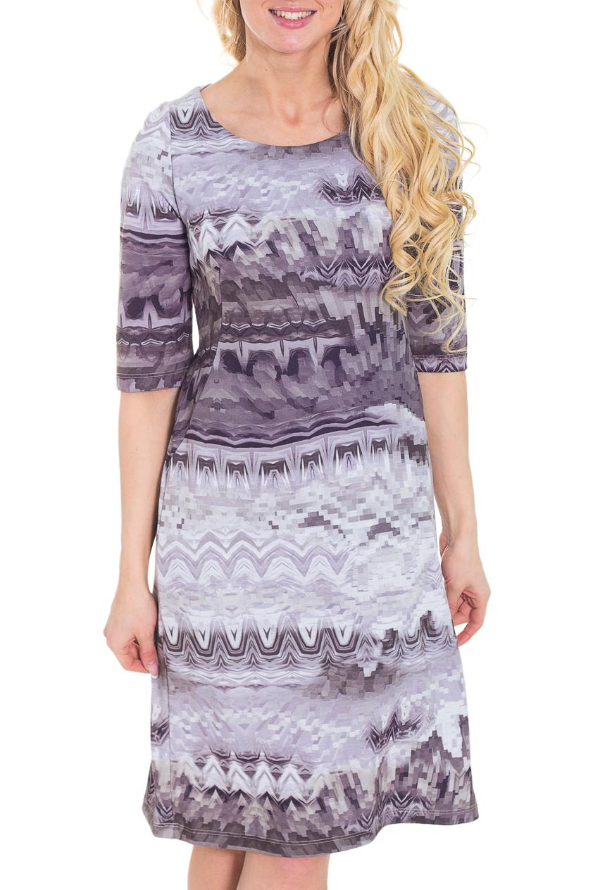 ПлатьеПлатья<br>Красивое платье с круглой горловиной и рукавами до локтя. Модель полуприталенного силуэта, выполнена из плотного трикотажа. Отличный выбор для повседневного гардероба.  Цвет: серо-сиреневый  Рост девушки-фотомодели 170 см.<br><br>Горловина: С- горловина<br>По длине: Ниже колена<br>По материалу: Вискоза,Трикотаж<br>По образу: Город<br>По рисунку: Абстракция,Цветные,С принтом<br>По силуэту: Полуприталенные<br>По стилю: Повседневный стиль<br>Рукав: До локтя<br>По сезону: Осень,Весна,Зима<br>По форме: Платье - футляр<br>Размер : 44<br>Материал: Трикотаж<br>Количество в наличии: 1