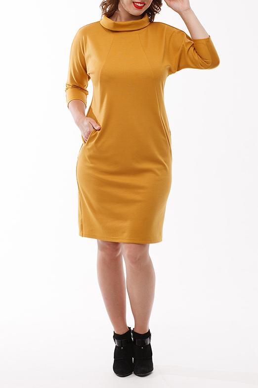 ПлатьеПлатья<br>Платье полуприлегающего силуэта с целновыкроенным рукавом, выполнено из плотного трикотажного полотна. На полочке и спинке  фигурные рельефы с карманами. Горловина обработана воротником - quot;хомутquot; с отложными уголками со стороны спинки.  Длина изделия 98 см.  Цвет: желтый  Рост девушки-фотомодели 168 см<br><br>Воротник: Хомут<br>По длине: До колена<br>По материалу: Вискоза,Трикотаж<br>По рисунку: Однотонные<br>По силуэту: Приталенные<br>По стилю: Повседневный стиль<br>По форме: Платье - футляр<br>По элементам: С карманами<br>Рукав: Рукав три четверти<br>По сезону: Осень,Весна,Зима<br>Размер : 50,56<br>Материал: Джерси<br>Количество в наличии: 2