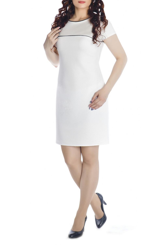 ПлатьеПлатья<br>Элегантное платье-футляр, построенное на сочетании двух тканей разных фактур. Верхняя часть с круглым вырезом и короткими рукавами выполнена из гладкой ткани, нижняя – из фактурной. Контрастная отделка вдоль выреза и по шву над грудью, где стыкуются гладкая и фактурная ткани, добавляет нотки изящности. Кружевная контрастная молния на спине и вытачки по спинке – эффектные штрихи завершающие образ. Стильная длина позволяет продемонстрировать красоту Ваших ножек. Платье подойдет для повседневной носки и для любого рода праздничных мероприятий. Ткань - плотный трикотаж, характеризующийся эластичностью, растяжимостью и мягкостью.  Длина изделия 90 см.   В изделии использованы цвета: белый, черный  Рост девушки-фотомодели 170 см.<br><br>Горловина: С- горловина<br>По длине: До колена<br>По материалу: Трикотаж<br>По рисунку: Однотонные<br>По сезону: Лето,Осень,Весна<br>По силуэту: Приталенные<br>По стилю: Классический стиль,Кэжуал,Офисный стиль,Повседневный стиль<br>По форме: Платье - футляр<br>Рукав: Короткий рукав<br>По элементам: С декором,С отделочной фурнитурой<br>Размер : 44<br>Материал: Трикотаж<br>Количество в наличии: 1