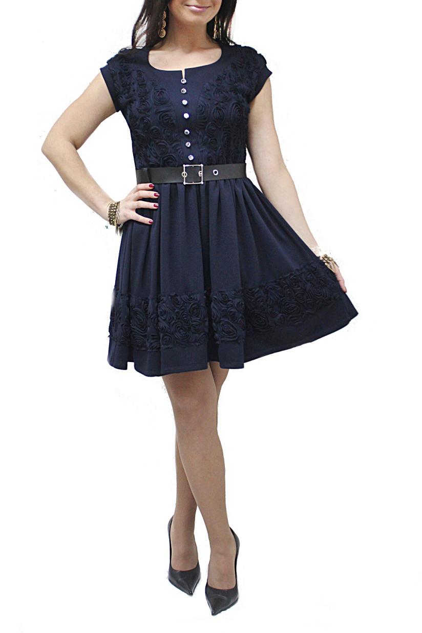 ПлатьеПлатья<br>Женственное платье с короткими рукавами. Модель выполнена из плотного трикотажа с фактурными цветами. Отличный выбор для праздничного выхода. Платье дополнено поясом.  Цвет: синий  Рост девушки-фотомодели 167 см<br><br>Горловина: С- горловина<br>По длине: До колена<br>По материалу: Вискоза,Гипюровая сетка,Трикотаж<br>По рисунку: Однотонные,Фактурный рисунок<br>По сезону: Весна,Зима,Лето,Осень,Всесезон<br>По силуэту: Приталенные<br>По стилю: Нарядный стиль,Повседневный стиль<br>По форме: Платье - трапеция<br>По элементам: С декором,С пуговицами<br>Рукав: Короткий рукав<br>Размер : 46,58<br>Материал: Джерси + Гипюровая сетка<br>Количество в наличии: 2