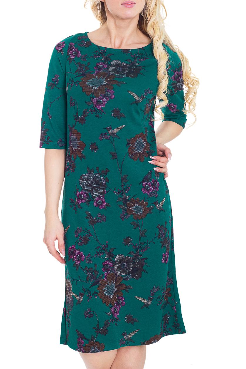 ПлатьеПлатья<br>Красивое платье с круглой горловиной и рукавами до локтя. Модель полуприталенного силуэта, выполнена из плотного трикотажа. Отличный выбор для повседневного гардероба.  Цвет: зеленый, мультицвет  Рост девушки-фотомодели 170 см.<br><br>Горловина: С- горловина<br>По длине: Ниже колена<br>По материалу: Вискоза,Трикотаж<br>По рисунку: Растительные мотивы,Цветные,Цветочные<br>По силуэту: Полуприталенные<br>По стилю: Повседневный стиль<br>По форме: Платье - трапеция<br>Рукав: До локтя<br>По сезону: Зима<br>Размер : 46,48<br>Материал: Трикотаж<br>Количество в наличии: 3
