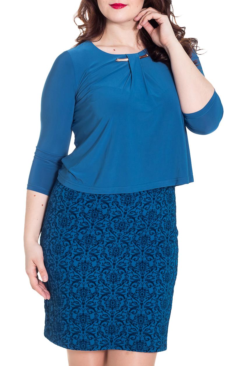 ПлатьеПлатья<br>Великолепное платье с имитацией юбки и блузки. Модель выполнена из приятного трикотажа насыщенного синего цвета. Отличный выбор для любого случая.  Цвет: синий  Рост девушки-фотомодели 180 см.<br><br>Горловина: С- горловина<br>По длине: До колена<br>По материалу: Трикотаж<br>По рисунку: С принтом,Цветные<br>По силуэту: Полуприталенные<br>По стилю: Повседневный стиль<br>По форме: Платье - футляр<br>По элементам: С декором,С отделочной фурнитурой<br>Рукав: Рукав три четверти<br>По сезону: Осень,Весна,Зима<br>Размер : 44,46,48,52,54,56,58<br>Материал: Трикотаж<br>Количество в наличии: 14