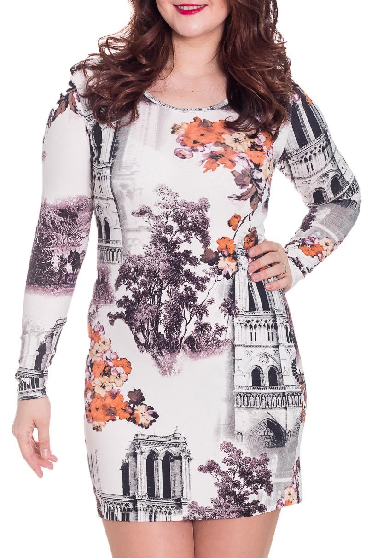 ПлатьеПлатья<br>Великолепное платье с круглой горловиной и длинными рукавами. Модель выполнена из приятного материала. Отличный выбор для повседневного гардероба.  Цвет: белый, серый, сиреневый, оранжевый  Рост девушки-фотомодели 180 см<br><br>Горловина: С- горловина<br>По длине: Мини<br>По материалу: Вискоза,Трикотаж<br>По рисунку: Растительные мотивы,С принтом,Цветные,Цветочные<br>По сезону: Весна,Осень,Зима<br>По силуэту: Обтягивающие<br>По стилю: Повседневный стиль<br>По форме: Платье - футляр<br>Рукав: Длинный рукав<br>Размер : 52<br>Материал: Вискоза<br>Количество в наличии: 1