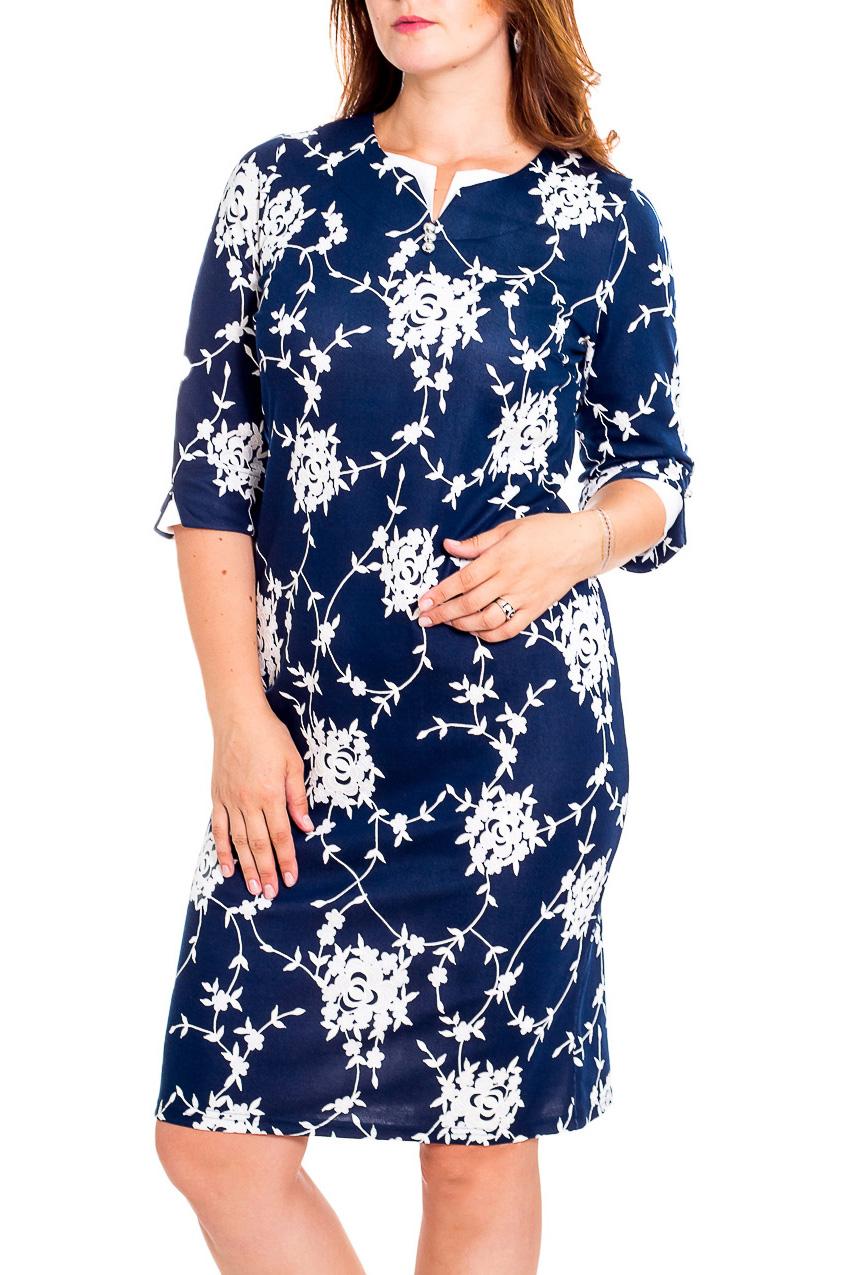 ПлатьеПлатья<br>Чудесное платье с фигурной горловиной и рукавами 3/4. Модель выполнена из приятного трикотажа. Отличный выбор для повседневного гардероба.  В изделии использованы цвета: синий, белый  Рост девушки-фотомодели 180 см<br><br>Горловина: Фигурная горловина<br>По длине: До колена<br>По материалу: Трикотаж,Хлопок<br>По рисунку: Растительные мотивы,С принтом,Цветные,Цветочные<br>По силуэту: Приталенные<br>По стилю: Повседневный стиль<br>По форме: Платье - футляр<br>Рукав: Рукав три четверти<br>По сезону: Осень,Весна,Зима<br>Размер : 54,56,60,62,64,66,68,70<br>Материал: Трикотаж<br>Количество в наличии: 30