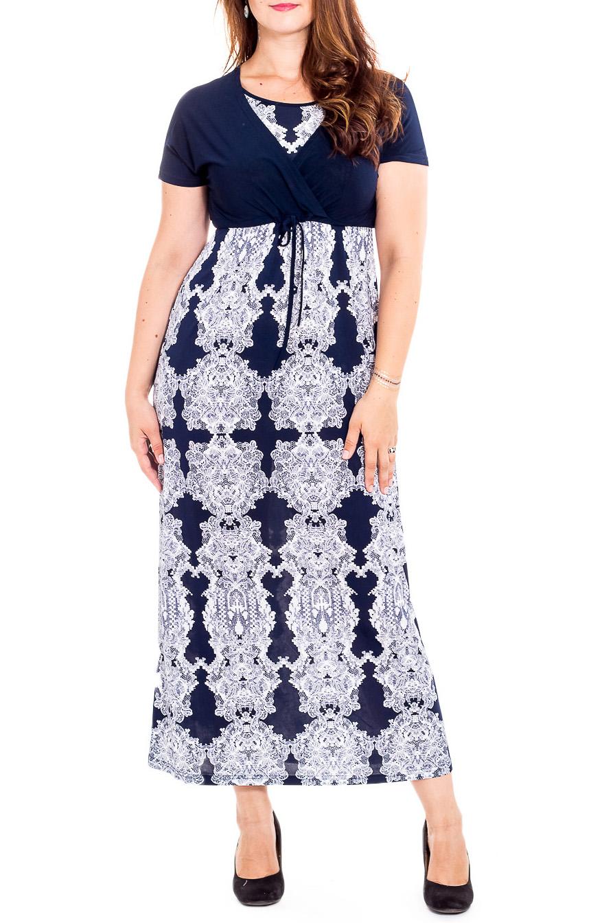 ПлатьеПлатья<br>Чудесное платье с короткими рукавами. Модель выполнена из приятного трикотажа. Отличный выбор для повседневного гардероба.  В изделии использованы цвета: синий, белый  Рост девушки-фотомодели 180 см<br><br>Горловина: С- горловина<br>По длине: Макси<br>По материалу: Трикотаж<br>По рисунку: С принтом,Цветные<br>По сезону: Лето,Весна<br>По силуэту: Приталенные<br>По стилю: Повседневный стиль<br>По форме: Платье - трапеция<br>Рукав: Короткий рукав<br>По элементам: С завышенной талией<br>Размер : 48,50,52,54,58,60,62,64,66,68,70<br>Материал: Холодное масло<br>Количество в наличии: 35