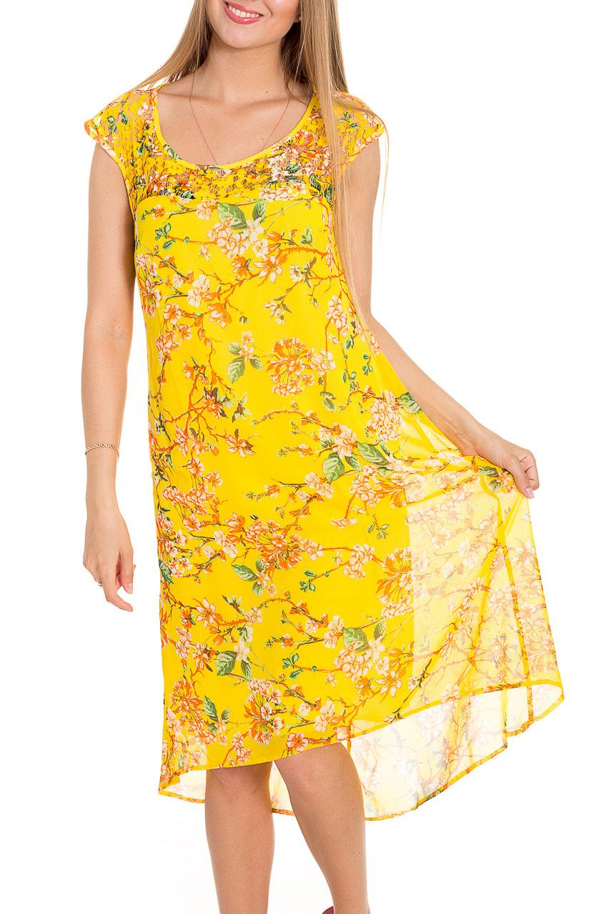 ПлатьеПлатья<br>Яркое платье с короткими рукавами. Модель выполнена из приятного материала. Отличный выбор для повседневного гардероба.  В изделии использованы цвета: желтый, оранжевый, зеленый  Рост девушки-фотомодели 170 см.<br><br>Горловина: С- горловина<br>По длине: Ниже колена<br>По материалу: Шифон<br>По образу: Город,Свидание<br>По рисунку: Растительные мотивы,С принтом,Цветные,Цветочные<br>По силуэту: Свободные<br>По стилю: Повседневный стиль<br>По форме: Платье - трапеция<br>По элементам: Со шлейфом<br>Рукав: Без рукавов,Короткий рукав<br>По сезону: Лето<br>Размер : 46<br>Материал: Шифон<br>Количество в наличии: 1