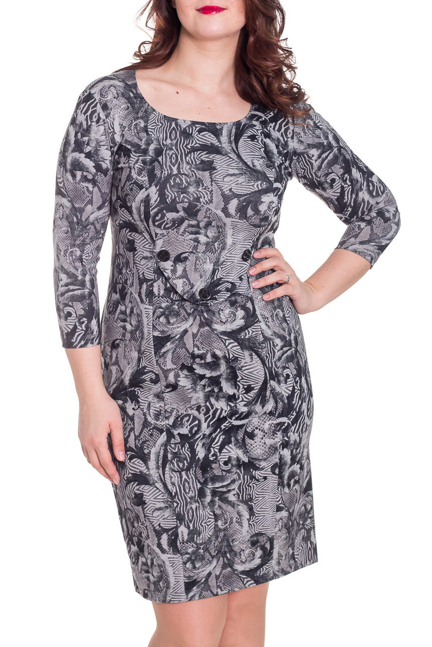 ПлатьеПлатья<br>Замечательное платье с круглой горловиной и рукавами 3/4. Модель выполнена из приятного материала. Отличный выбор для повседневного гардероба.  Цвет: серый, черный  Рост девушки-фотомодели 180 см<br><br>Горловина: С- горловина<br>По длине: До колена<br>По материалу: Трикотаж<br>По рисунку: С принтом,Цветные<br>По стилю: Повседневный стиль<br>По форме: Платье - футляр<br>Рукав: Рукав три четверти<br>По сезону: Осень,Весна,Зима<br>По силуэту: Приталенные<br>Размер : 48,50<br>Материал: Трикотаж<br>Количество в наличии: 2