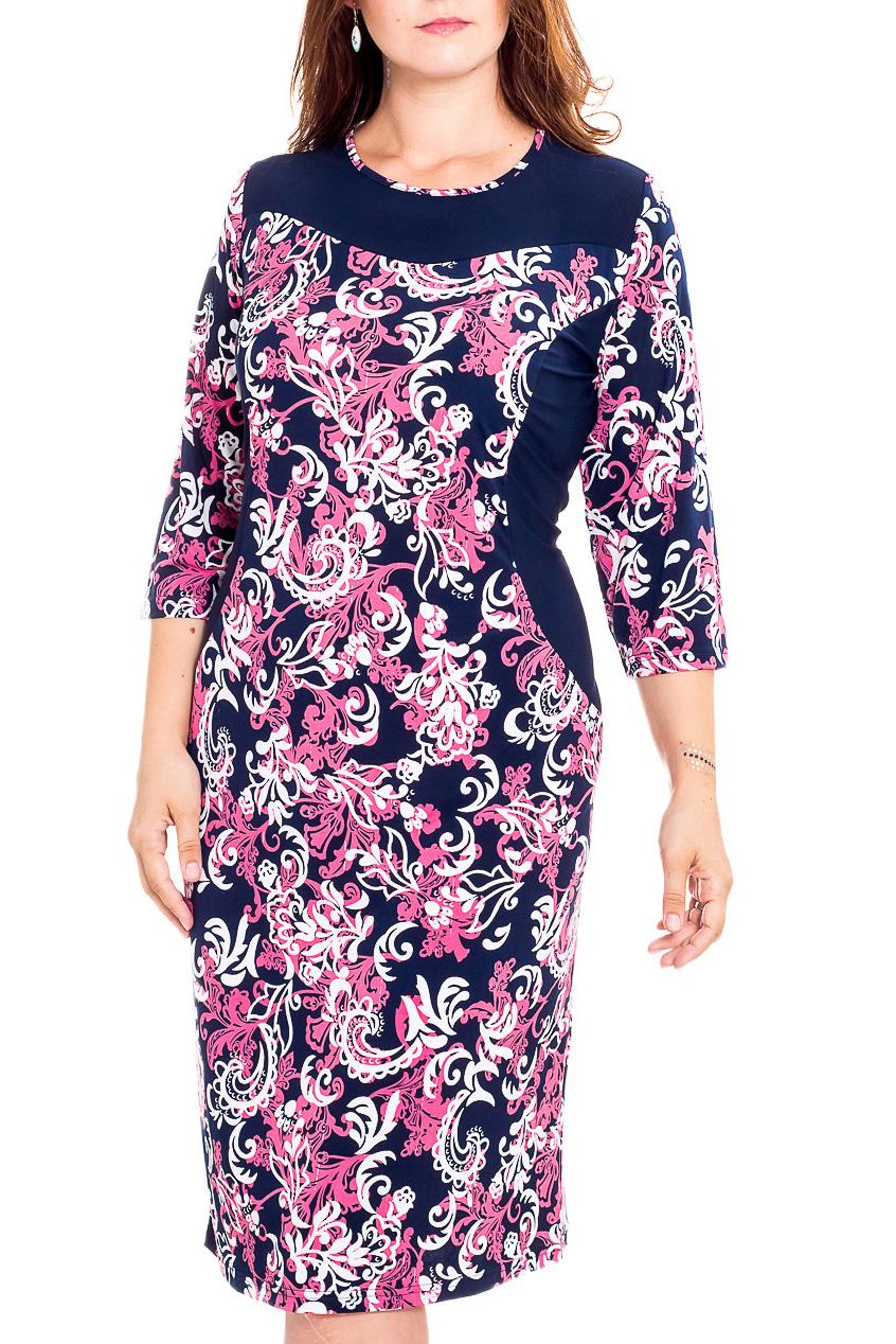 ПлатьеПлатья<br>Чудесное платье с фигурной горловиной и рукавами 3/4. Модель выполнена из приятного трикотажа. Отличный выбор для повседневного гардероба.  В изделии использованы цвета: синий, розовый, белый  Рост девушки-фотомодели 180 см<br><br>Горловина: С- горловина<br>По длине: Ниже колена<br>По материалу: Трикотаж<br>По рисунку: С принтом,Цветные<br>По сезону: Лето,Осень,Весна<br>По силуэту: Приталенные<br>По стилю: Повседневный стиль<br>По форме: Платье - футляр<br>Рукав: Рукав три четверти<br>Размер : 48,50,52,56,58,60,62,64,68<br>Материал: Холодное масло<br>Количество в наличии: 15