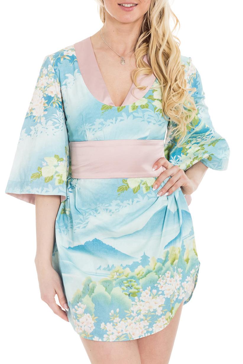 ПлатьеПлатья<br>Оригинальная молодежная модель, выполненная на основе кимоно. Широкий пояс и свободный рукав поддерживают тему восточного платья. Открытая спина, короткая юбка, глубокий вырез - эти детали современного платья превращают его в авангардный наряд. В нем вы будете выгодно выделяться среди окружающих.  Цвет: голубой, зеленый, розовый  Рост девушки-фотомодели 170 см.<br><br>Горловина: V- горловина<br>По длине: Мини<br>По материалу: Хлопок<br>По рисунку: Растительные мотивы,С принтом,Цветные,Цветочные<br>По сезону: Весна,Зима,Лето,Осень,Всесезон<br>По силуэту: Полуприталенные<br>По форме: Платье - футляр<br>По элементам: С вырезом,С декором,С открытой спиной<br>Рукав: Рукав три четверти<br>По стилю: Повседневный стиль,Этнический стиль<br>Размер : 42,44,46<br>Материал: Хлопок<br>Количество в наличии: 3