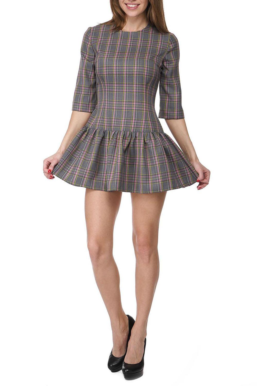 ПлатьеПлатья<br>Молодежное платье мини с юбкой трапециевидного силуэта. Модель выполнена из приятного материала. Отличный выбор для любого случая.  В изделии использованы цвета: серый др.  Ростовка изделия 170 см.<br><br>Горловина: С- горловина<br>Рукав: Рукав три четверти<br>Длина: Мини<br>Материал: Костюмные ткани,Тканевые<br>Рисунок: В клетку,С принтом,Цветные<br>Сезон: Весна,Осень<br>Силуэт: Полуприталенные<br>Стиль: Молодежный стиль,Офисный стиль,Повседневный стиль<br>Форма: Платье - трапеция<br>Размер : 44,46,48<br>Материал: Костюмно-плательная ткань<br>Количество в наличии: 6