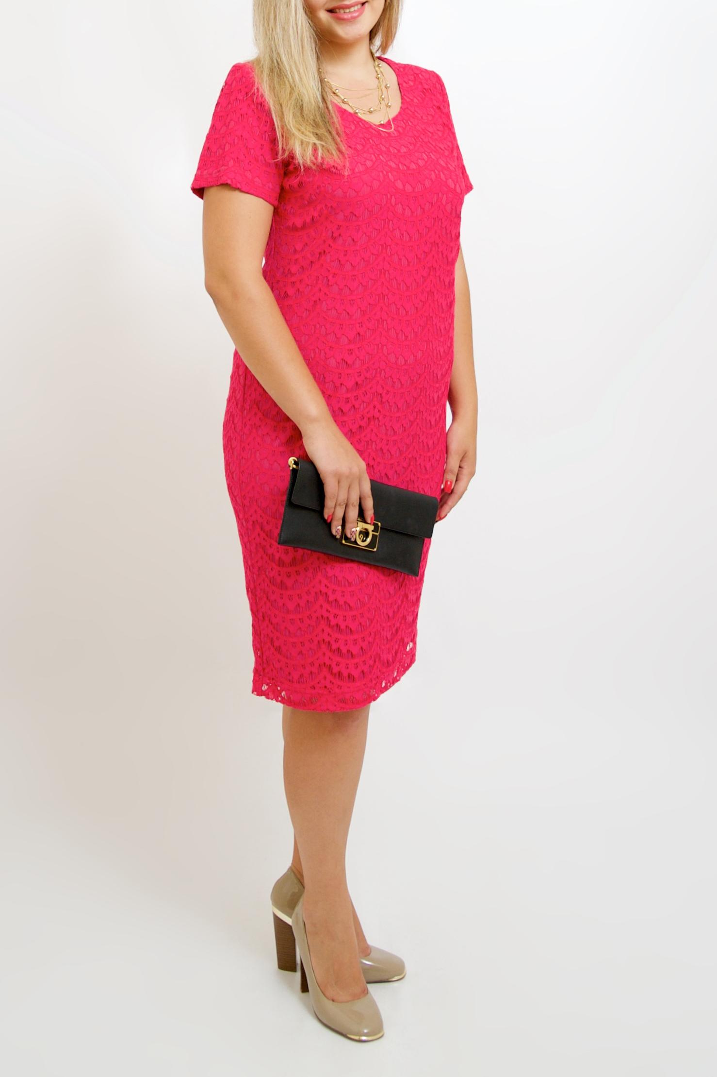 ПлатьеПлатья<br>Нарядное платье с короткими рукавами. Модель выполнена из ажурного гипюра на подкладе. Отличный выбор для любого торжества.   Цвет: розовый  Рост девушки-фотомодели 170 см.<br><br>Горловина: С- горловина<br>По длине: Ниже колена<br>По материалу: Гипюр<br>По образу: Свидание<br>По рисунку: Однотонные,Фактурный рисунок<br>По сезону: Весна,Зима,Лето,Осень,Всесезон<br>По силуэту: Полуприталенные<br>По стилю: Нарядный стиль<br>По форме: Платье - футляр<br>Рукав: Короткий рукав<br>Размер : 44-46,48-50,52-56,58-62,64-68<br>Материал: Гипюр<br>Количество в наличии: 8