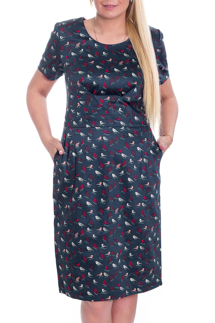 ПлатьеПлатья<br>Чудесное платье с короткими рукавами. Модель выполнена из хлопкового материала. Отличный выбор для повседневного гардероба. Ростовка 164 см.  Цвет: серо-синий, красный  Рост девушки-фотомодели 170 см.<br><br>Горловина: С- горловина<br>По длине: Ниже колена<br>По материалу: Хлопок<br>По образу: Город,Свидание<br>По рисунку: Животные мотивы,С принтом,Цветные<br>По силуэту: Полуприталенные<br>По стилю: Повседневный стиль<br>По форме: Платье - футляр<br>По элементам: С карманами<br>Рукав: Короткий рукав<br>По сезону: Лето<br>Размер : 52,54,56,60<br>Материал: Хлопок<br>Количество в наличии: 4