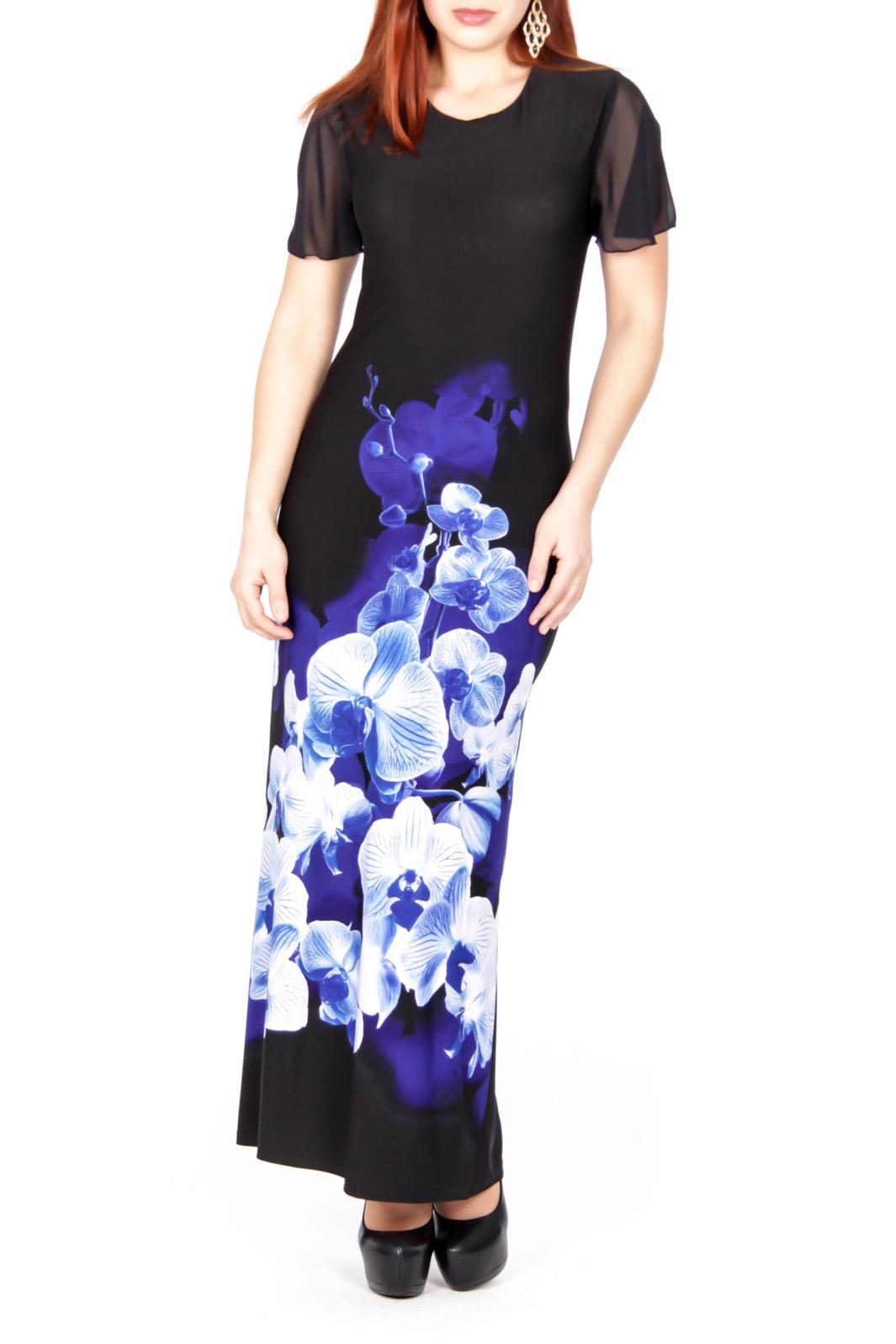ПлатьеПлатья<br>Эффектное женское платье в пол с круглой горловиной и короткими рукавами. Модель выполнена из приятного трикотажа. Отличный выбор для любого случая.  Цвет: черный, белый, синий  Рост девушки-фотомодели 170 см.<br><br>Горловина: С- горловина<br>По длине: Макси<br>По материалу: Вискоза,Трикотаж,Шифон<br>По образу: Свидание<br>По рисунку: Растительные мотивы,Цветные,Цветочные,С принтом<br>По сезону: Весна,Всесезон,Зима,Лето,Осень<br>По силуэту: Полуприталенные<br>По стилю: Нарядный стиль,Повседневный стиль<br>По элементам: С разрезом<br>Рукав: Короткий рукав<br>Разрез: Короткий<br>Размер : 44<br>Материал: Холодное масло + Шифон<br>Количество в наличии: 1