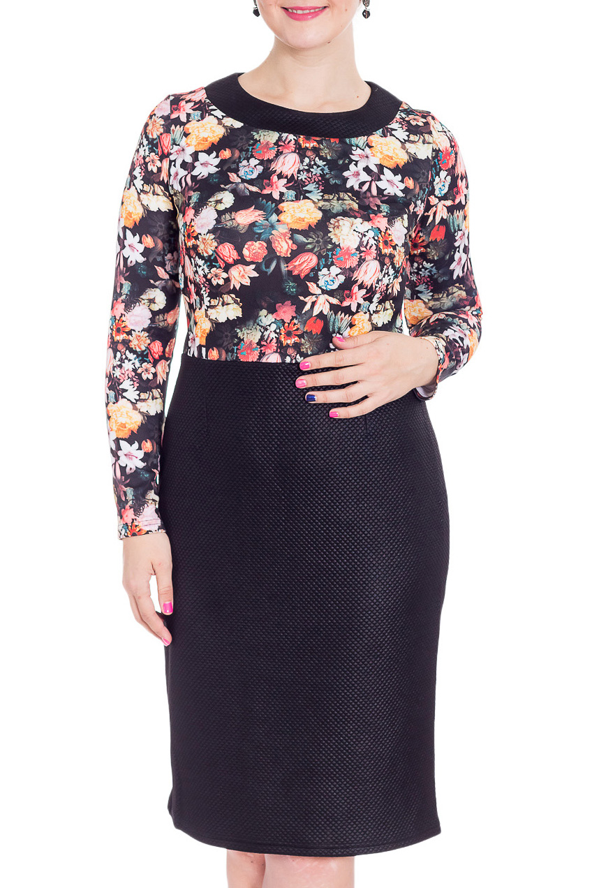 ПлатьеПлатья<br>Великолепное платье с цветочным принтом. Модель выполнена из приятного трикотажа. Отличный выбор для повседневного гардероба.  В изделии использованы цвета: черный, желтый, коралловый и др.  Рост девушки-фотомодели 180 см<br><br>Горловина: С- горловина<br>По длине: Ниже колена<br>По материалу: Трикотаж<br>По образу: Город,Свидание<br>По рисунку: Растительные мотивы,С принтом,Цветные,Цветочные<br>По силуэту: Приталенные<br>По стилю: Повседневный стиль<br>По форме: Платье - футляр<br>По элементам: С разрезом<br>Рукав: Длинный рукав<br>По сезону: Осень,Весна<br>Размер : 46,50,52,54,58<br>Материал: Трикотаж<br>Количество в наличии: 5