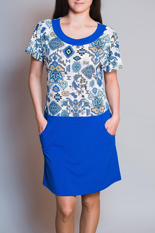 ПлатьеПлатья<br>Цветное платье с короткими рукавами. Модель выполнена из приятного материала. Отличный выбор для повседневного гардероба. Платье без ремня.  В изделии использованы цвета: синий, белый и др.  Ростовка изделия 170 см.<br><br>Горловина: С- горловина<br>По длине: До колена<br>По материалу: Вискоза<br>По рисунку: С принтом,Цветные<br>По сезону: Весна,Лето<br>По силуэту: Полуприталенные<br>По стилю: Повседневный стиль<br>По элементам: С карманами<br>Рукав: Короткий рукав<br>Размер : 44,46,48,50<br>Материал: Вискоза<br>Количество в наличии: 4