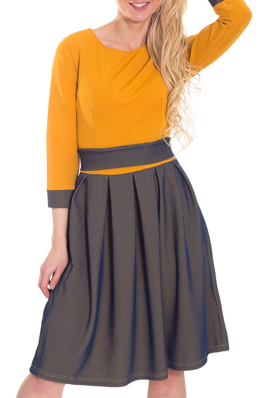 ПлатьеПлатья<br>Красивое платье трапециевидного силуэта от линии талии с круглой горловиной и рукавами 3/4. Модель выполнена из приятного материала. Отличный выбор для повседневного гардероба. Платье без пояса.  Цвет: желтый, синий  Рост девушки-фотомодели 170 см<br><br>Горловина: С- горловина<br>По длине: До колена<br>По материалу: Вискоза,Тканевые<br>По образу: Город,Свидание<br>По рисунку: Цветные<br>По силуэту: Полуприталенные<br>По стилю: Повседневный стиль<br>По форме: Платье - трапеция<br>По элементам: С манжетами<br>Рукав: Рукав три четверти<br>По сезону: Осень,Весна<br>Размер : 42,44,46<br>Материал: Плательная ткань<br>Количество в наличии: 3