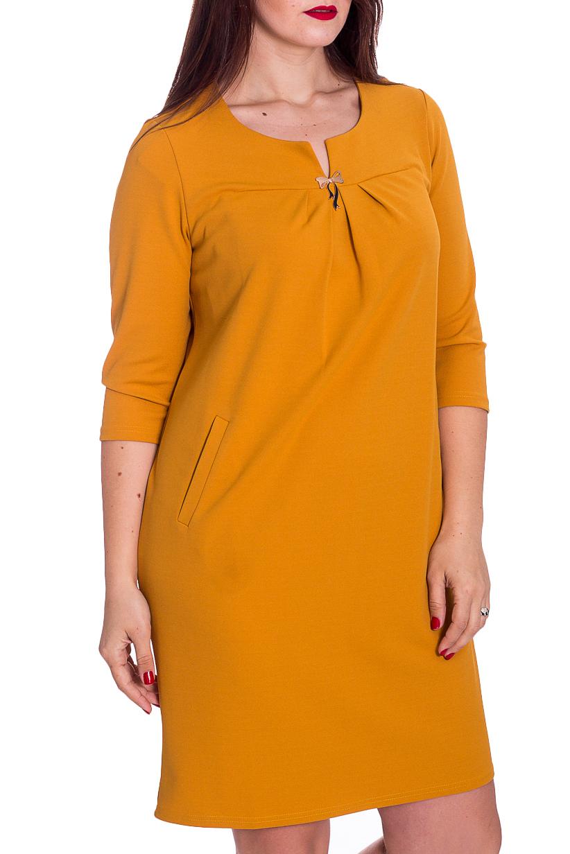 ПлатьеПлатья<br>Однотонное платье с фигурной горловиной и рукавами 3/4. Модель выполнена из приятного материала. Отличный выбор для повседневного гардероба.  В изделии использованы цвета: желтый  Рост девушки-фотомодели 180 см.<br><br>Горловина: Фигурная горловина<br>По длине: До колена<br>По материалу: Тканевые<br>По рисунку: Однотонные<br>По силуэту: Полуприталенные<br>По стилю: Повседневный стиль<br>По форме: Платье - футляр<br>По элементам: С декором,С карманами,Со складками<br>Рукав: Рукав три четверти<br>По сезону: Осень,Весна,Зима<br>Размер : 48,50,56<br>Материал: Плательная ткань<br>Количество в наличии: 6