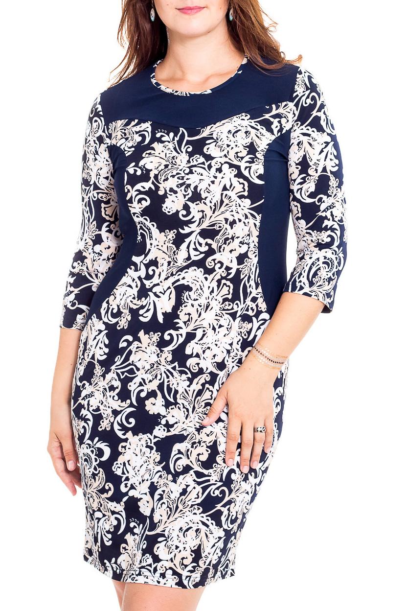 ПлатьеПлатья<br>Чудесное платье с фигурной горловиной и рукавами 3/4. Модель выполнена из приятного трикотажа. Отличный выбор для повседневного гардероба.  В изделии использованы цвета: синий, белый  Рост девушки-фотомодели 180 см<br><br>Горловина: С- горловина<br>По длине: Ниже колена<br>По материалу: Трикотаж<br>По образу: Город,Свидание<br>По рисунку: С принтом,Цветные<br>По сезону: Лето,Осень,Весна<br>По силуэту: Приталенные<br>По стилю: Повседневный стиль<br>По форме: Платье - футляр<br>Рукав: Рукав три четверти<br>Размер : 48,50,52,54,56,58,60,62,64,66,68,70<br>Материал: Холодное масло<br>Количество в наличии: 28
