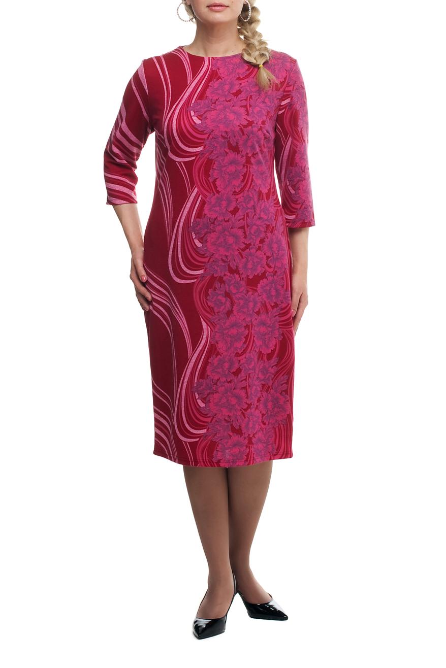 ПлатьеПлатья<br>Повседневное платье с круглой горловиной и рукавами 3/4. Модель выполнена из плотного трикотажа. Отличный выбор для повседневного гардероба.  В изделии использованы цвета: розовый, белый  Рост девушки-фотомодели 173 см.<br><br>Горловина: С- горловина<br>По длине: Ниже колена<br>По материалу: Трикотаж<br>По рисунку: С принтом,Цветные,Растительные мотивы,Цветочные<br>По силуэту: Полуприталенные<br>По стилю: Повседневный стиль<br>По форме: Платье - футляр<br>Рукав: Рукав три четверти<br>По сезону: Осень,Весна,Зима<br>Размер : 50,52,54,56,58,60,62,64,66,68<br>Материал: Джерси<br>Количество в наличии: 28