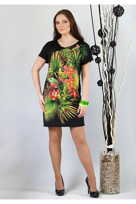 ПлатьеПлатья<br>Эффектное платье-туника с ярким принтом - такая универсальная вещь подойдет для любого случая в жизни. Отлично будет смотреться как с лосинами, так и как самостоятельная часть гардероба. Трикотаж  quot;холодное маслоquot; специально  подобран для  укороченного платья плоского кроя прямого силуэта. Перед и спинка без отличительных особенностей. Спинка со средним швом. Линия плеча спущена; по низу образованного таким образом рукава притачана двойная манжета, зафиксированная декоративной пуговицей по плечевому шву. Манжета под проймой уже чем в области плечевого шва. Качественная обработка горловины придает изделию лоск.  Длина изделия 83,0 см во всех размерах  Цвет: черный, зеленый, желтый, коралловый  Ростовка изделия 170 см.<br><br>Горловина: С- горловина<br>По материалу: Трикотаж<br>По рисунку: Растительные мотивы,С принтом,Цветные,Цветочные<br>По силуэту: Свободные<br>По стилю: Повседневный стиль<br>Рукав: Короткий рукав<br>По сезону: Осень,Весна<br>Размер : 46,48,52,54,58<br>Материал: Холодное масло<br>Количество в наличии: 5