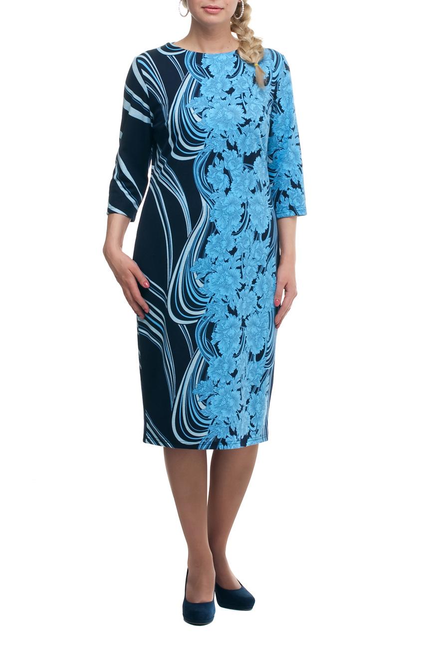 ПлатьеПлатья<br>Повседневное платье с круглой горловиной и рукавами 3/4. Модель выполнена из плотного трикотажа. Отличный выбор для повседневного гардероба.  В изделии использованы цвета: синий, голубой и др.  Рост девушки-фотомодели 173 см.<br><br>Горловина: С- горловина<br>По длине: Ниже колена<br>По материалу: Трикотаж<br>По рисунку: Растительные мотивы,С принтом,Цветные,Цветочные<br>По силуэту: Полуприталенные<br>По стилю: Повседневный стиль<br>По форме: Платье - футляр<br>Рукав: Рукав три четверти<br>По сезону: Осень,Весна,Зима<br>Размер : 50,52,56,64,66,68,70<br>Материал: Джерси<br>Количество в наличии: 14