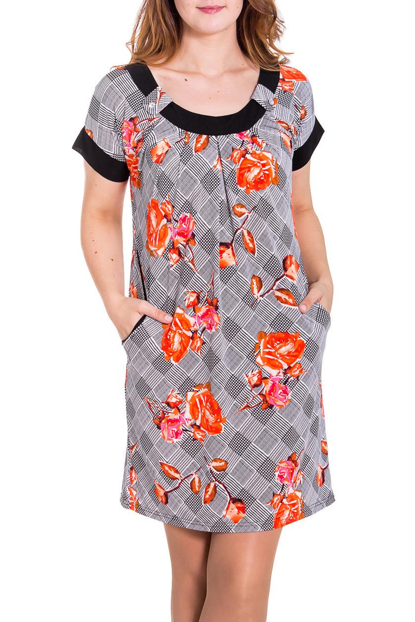 ПлатьеПлатья<br>Прекрасное женское платье с короткими рукавами. Модель выполнена из мягкого трикотажа. Отличный вариант для повседневного гардероба.  Цвет: серый, оранжевый, черный  Рост девушки-фотомодели 180 см<br><br>Горловина: С- горловина<br>По длине: До колена<br>По материалу: Вискоза,Трикотаж<br>По рисунку: Растительные мотивы,Цветные,Цветочные,С принтом<br>По сезону: Весна,Осень<br>По стилю: Повседневный стиль<br>По элементам: С карманами,С патами<br>Рукав: Короткий рукав<br>По силуэту: Полуприталенные<br>По форме: Платье - трапеция<br>Размер : 48,50,52,58<br>Материал: Холодное масло<br>Количество в наличии: 4