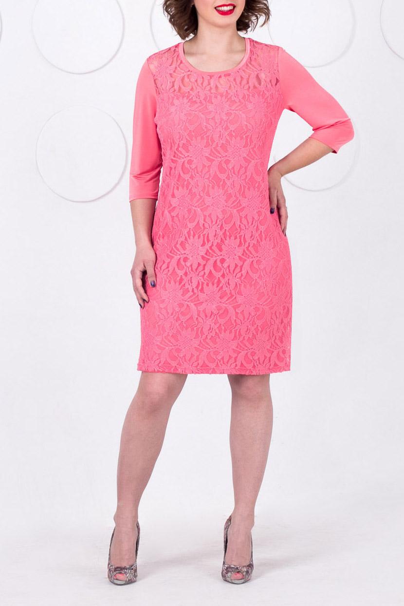 ПлатьеПлатья<br>Платье из гипюра для торжественных случаев. Полуприлегающего силуэта, на подкладе  от уровня кокетки низ изделия двухуровневый. Вырез круглый, рукав втачной 3/4, выполнен из трикотажного полотна - копманьона.   Длина изделия размеры 50-56 - 97 см, размеры 58-60 - 99 см  В изделии использованы цвета: кораллово-розовый  Рост девушки-фотомодели 168 см<br><br>Горловина: С- горловина<br>По длине: До колена<br>По материалу: Гипюр,Трикотаж<br>По рисунку: Однотонные<br>По сезону: Весна,Зима,Лето,Осень,Всесезон<br>По силуэту: Приталенные<br>По стилю: Нарядный стиль,Повседневный стиль,Романтический стиль,Вечерний стиль<br>По форме: Платье - футляр<br>Рукав: Рукав три четверти<br>Размер : 50,52,54,56,58,60<br>Материал: Холодное масло + Гипюр<br>Количество в наличии: 10