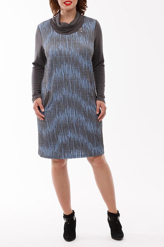 ПлатьеПлатья<br>Изумительное платье из фактурного трикотажного полотна quot;Аquot; - образного силуэта. Скомбинировано с однотонным  вязанным трикотажем, из которого выполненны воротник quot;хомутquot;, рукава и оформлены прорезные карманы. Изюминка платья - это украшение на воротнике в виде декоративного пришивного элемента.  Длина изделия по спинке 95 см  В изделии использованы цвета: серый, голубой  Рост девушки-фотомодели 168 см<br><br>Воротник: Хомут<br>По длине: До колена<br>По материалу: Трикотаж<br>По рисунку: С принтом,Цветные<br>По сезону: Осень,Зима<br>По силуэту: Полуприталенные<br>По стилю: Повседневный стиль<br>По форме: Платье - трапеция<br>Рукав: Длинный рукав<br>По элементам: С карманами<br>Размер : 56<br>Материал: Трикотаж<br>Количество в наличии: 1