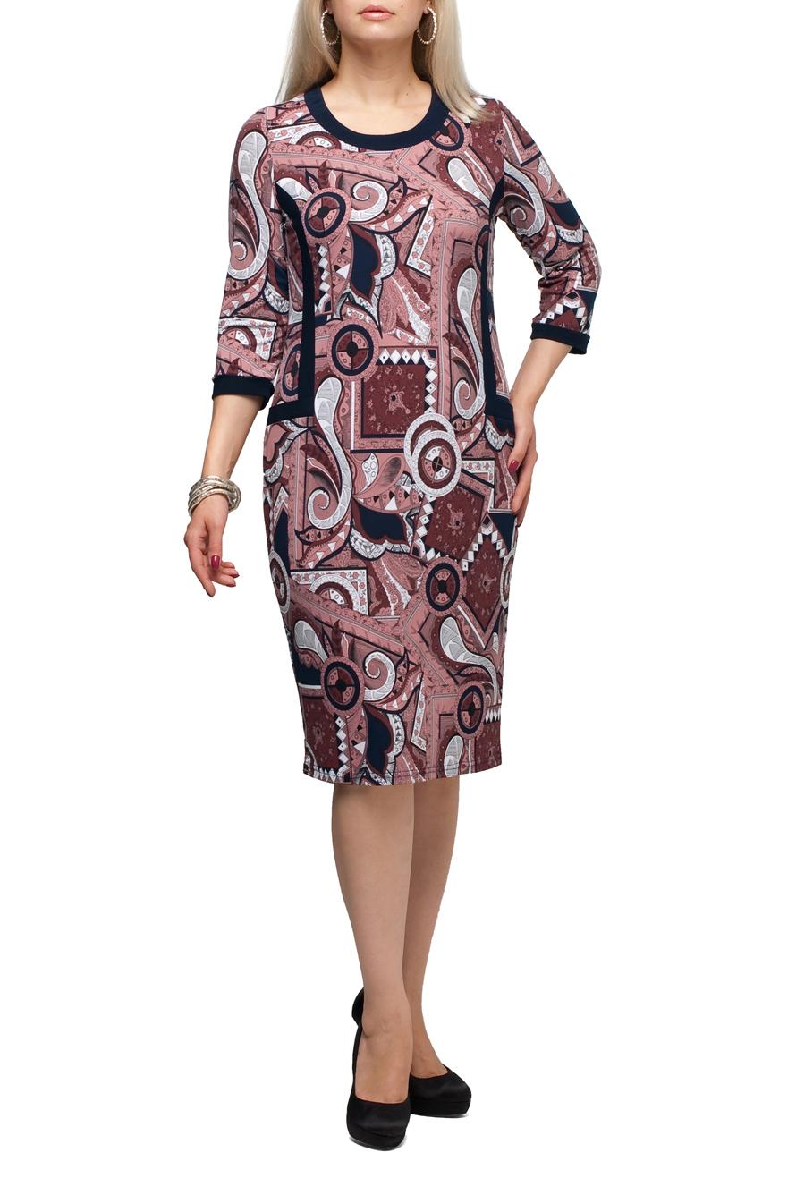 ПлатьеПлатья<br>Повседневное платье с круглой горловиной и рукавами 3/4. Модель выполнена из приятного трикотажа. Отличный выбор для повседневного гардероба.  В изделии использованы цвета: розовый, белый, синий и др.  Рост девушки-фотомодели 173 см.<br><br>Горловина: С- горловина<br>По длине: Ниже колена<br>По материалу: Трикотаж<br>По образу: Город<br>По рисунку: Абстракция,С принтом,Цветные<br>По силуэту: Полуприталенные<br>По стилю: Повседневный стиль<br>По форме: Платье - футляр<br>По элементам: С карманами,С манжетами<br>Рукав: Рукав три четверти<br>По сезону: Осень,Весна<br>Размер : 48,50,52,54,56,58,60,62,64,66,68,70<br>Материал: Холодное масло<br>Количество в наличии: 11