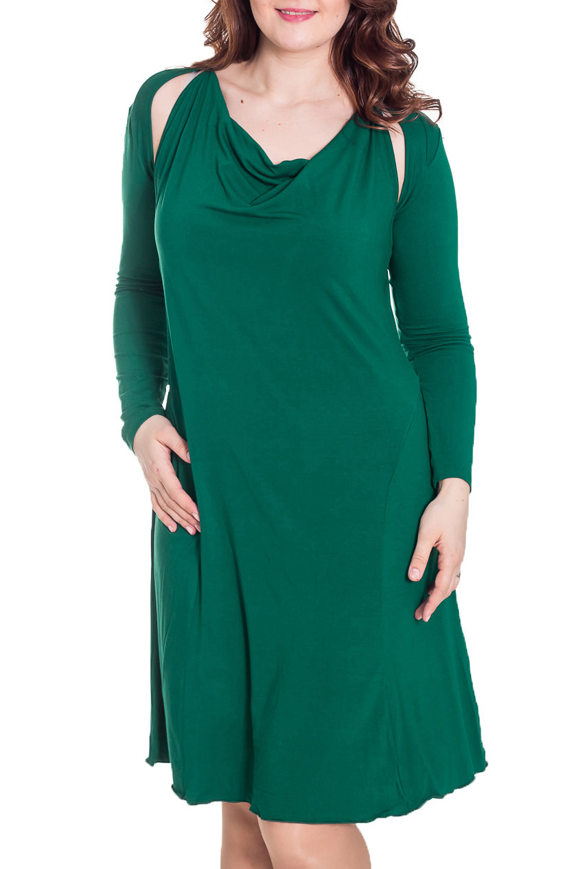 ПлатьеПлатья<br>Женское платье с болеро. Модель выполнена из приятного трикотажа. Отличный выбор для повседневного гардероба.  Цвет: зеленый  Рост девушки-фотомодели 180 см.<br><br>Горловина: Качель<br>По материалу: Вискоза,Трикотаж<br>По рисунку: Однотонные<br>По силуэту: Полуприталенные<br>По стилю: Повседневный стиль,Кэжуал<br>По форме: Платье - трапеция<br>Рукав: Без рукавов,Длинный рукав<br>По сезону: Осень,Весна,Лето<br>По длине: Ниже колена<br>Размер : 44,46,48<br>Материал: Трикотаж<br>Количество в наличии: 5
