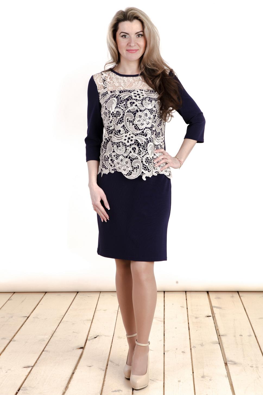 ПлатьеПлатья<br>Нарядное платье с круглой горловиной и рукавами 3/4. Модель выполнена из приятного трикотажа и гипюра. Отличный выбор для любого торжества.  Цвет: синий, молочный  Длина изделия: 46 размер - 89 см 48 размер - 90 см 50 размер - 91 см 52 размер - 92 см 54 размер - 93 см 56 размер - 94 см 58 размер - 95 см  Рост девушки-фотомодели 163 см<br><br>Горловина: С- горловина<br>По длине: До колена<br>По материалу: Вискоза,Гипюр,Трикотаж<br>По образу: Выход в свет,Свидание<br>По рисунку: Цветные<br>По сезону: Весна,Зима,Лето,Осень,Всесезон<br>По силуэту: Полуприталенные<br>По стилю: Нарядный стиль,Повседневный стиль<br>По форме: Платье - футляр<br>По элементам: С декором<br>Рукав: Рукав три четверти<br>Размер : 46,48,50,52,54,56,58<br>Материал: Трикотаж + Гипюр<br>Количество в наличии: 3