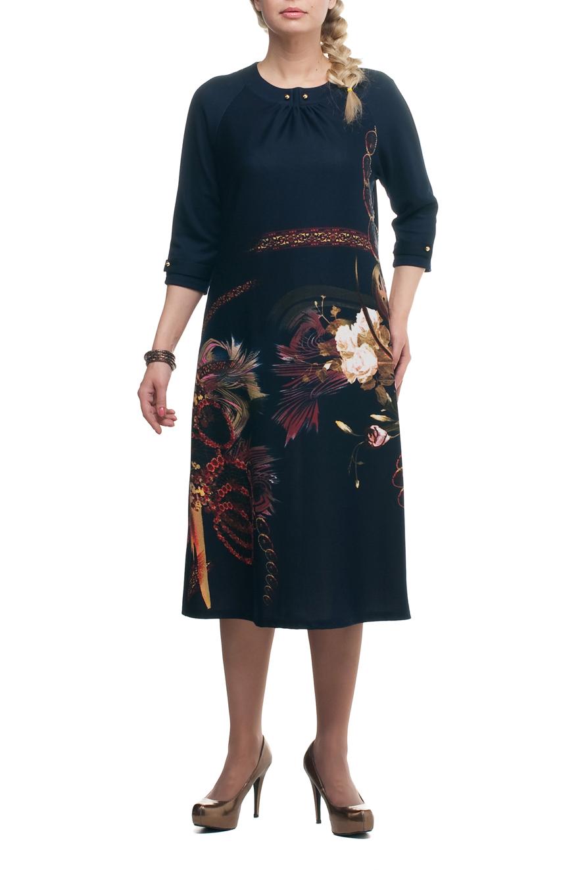 ПлатьеПлатья<br>Повседневное платье с круглой горловиной и рукавами 3/4. Модель выполнена из плотного трикотажа. Отличный выбор для повседневного и делового гардероба.  В изделии использованы цвета: синий, красный, белый и др.  Рост девушки-фотомодели 173 см.<br><br>Горловина: С- горловина<br>По длине: Ниже колена<br>По материалу: Вискоза,Трикотаж<br>По рисунку: Растительные мотивы,С принтом,Цветные,Цветочные<br>По силуэту: Полуприталенные<br>По стилю: Повседневный стиль<br>По форме: Платье - футляр<br>По элементам: С декором,Со складками<br>Рукав: Рукав три четверти<br>По сезону: Осень,Весна,Зима<br>Размер : 52,54,56,58,60,66,68<br>Материал: Джерси<br>Количество в наличии: 12