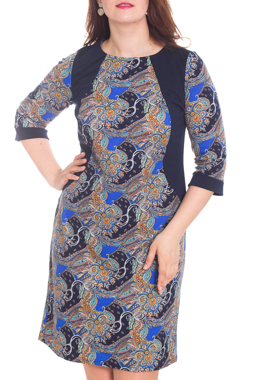 ПлатьеПлатья<br>Красивое платье с круглой горловиной и рукавами 3/4. Модель выполнена из приятного трикотажа. Отличный выбор для повседневного гардероба.  Цвет: синий, бежевый, оранжевый  Рост девушки-фотомодели 180 см.<br><br>Горловина: С- горловина<br>По длине: До колена<br>По материалу: Трикотаж<br>По образу: Город,Свидание<br>По рисунку: Абстракция,С принтом,Цветные,Этнические<br>По силуэту: Полуприталенные<br>По стилю: Повседневный стиль<br>По форме: Платье - футляр<br>Рукав: Рукав три четверти<br>По сезону: Осень,Весна,Зима<br>Размер : 58<br>Материал: Джерси<br>Количество в наличии: 1