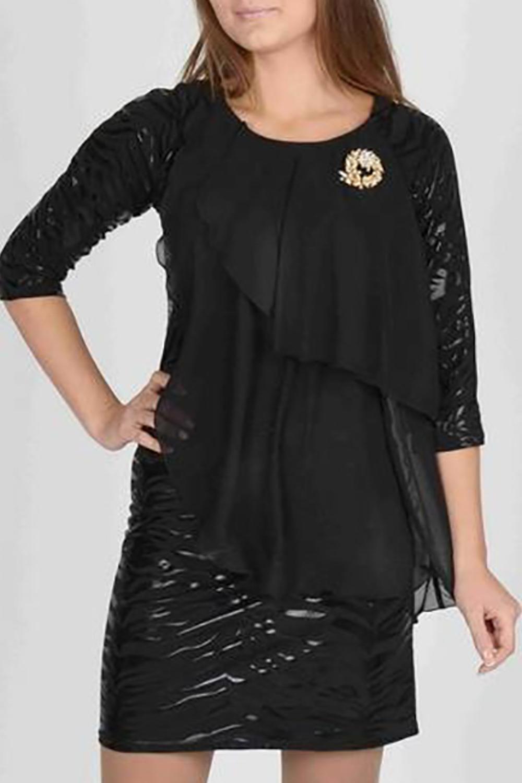 ПлатьеПлатья<br>Эффектное коктейльной платье асимметричного кроя. Основа платья - облегающий футляр, выполненный из трикотажа с напылением лаке в черном цвете  - смотриться особенно элегантно.  Платье  с рукавами реглан длиной 3/4. Изюминкой платья являются широкие шифоновые отлетные детали, каскадом спадающие с плеча. Шифон струится при ходьбе и маскирует недостатки фигуры, что сделает это платье одним из любимых в гардеробе.    Длина до 48 размера - 90 см., после 50 размера - 95 см.   Цвет: черный  Ростовка изделия 170 см.<br><br>Горловина: С- горловина<br>По длине: До колена<br>По материалу: Тканевые,Шифон<br>По образу: Город,Свидание<br>По рисунку: Однотонные<br>По сезону: Весна,Зима,Лето,Осень,Всесезон<br>По силуэту: Приталенные<br>По стилю: Повседневный стиль<br>По форме: Платье - футляр<br>По элементам: С декором<br>Рукав: Рукав три четверти<br>Размер : 46,50,54<br>Материал: Плательная ткань + Шифон<br>Количество в наличии: 3