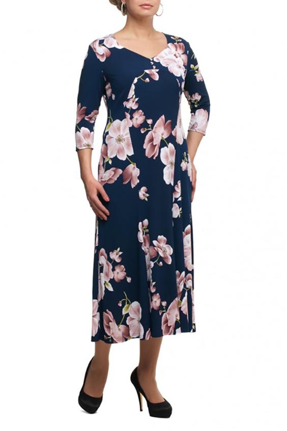 ПлатьеПлатья<br>Чудесное платье длиной миди. Модель выполнена из приятного трикотажа. Отличный выбор для любого случая.  В изделии использованы цвета: синий, розовый и др.  Рост девушки-фотомодели 173 см.<br><br>Горловина: Фигурная горловина<br>По длине: Миди,Ниже колена<br>По материалу: Трикотаж<br>По образу: Город,Свидание<br>По рисунку: Растительные мотивы,С принтом,Цветные,Цветочные<br>По силуэту: Полуприталенные<br>По стилю: Повседневный стиль<br>По форме: Платье - трапеция<br>Рукав: Рукав три четверти<br>По сезону: Осень,Весна<br>Размер : 48,52,66,70<br>Материал: Холодное масло<br>Количество в наличии: 4