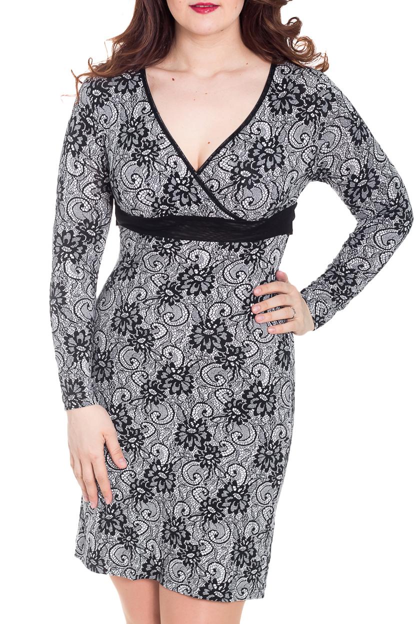 ПлатьеПлатья<br>Красивое платье с длинными рукавами. Модель выполнена из приятного трикотажа. Отличный выбор для повседневного гардероба.  Цвет: серый, черный  Рост девушки-фотомодели 180 см<br><br>Горловина: V- горловина,Запах<br>По длине: До колена<br>По материалу: Вискоза,Трикотаж<br>По рисунку: Растительные мотивы,С принтом,Цветные,Цветочные<br>По силуэту: Приталенные<br>По стилю: Повседневный стиль<br>По форме: Платье - футляр<br>Рукав: Длинный рукав<br>По сезону: Осень,Весна,Зима<br>По элементам: С вырезом,С завышенной талией<br>Размер : 44,46<br>Материал: Вискоза<br>Количество в наличии: 2
