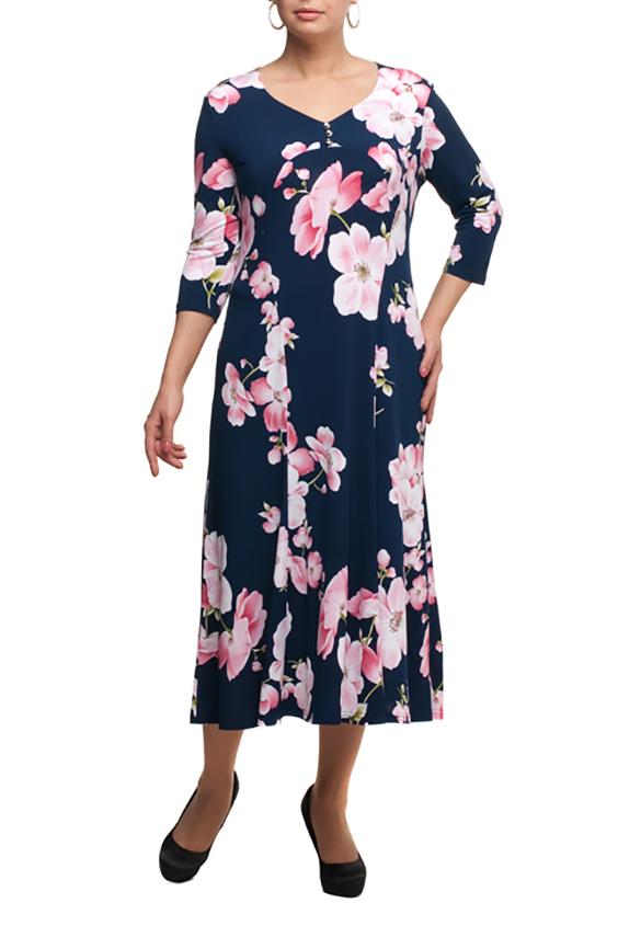ПлатьеПлатья<br>Чудесное платье длиной миди. Модель выполнена из приятного трикотажа. Отличный выбор для любого случая.  В изделии использованы цвета: синий, розовый и др.  Рост девушки-фотомодели 173 см.<br><br>Горловина: V- горловина<br>По длине: Миди,Ниже колена<br>По материалу: Трикотаж<br>По рисунку: Растительные мотивы,С принтом,Цветные,Цветочные<br>По силуэту: Полуприталенные<br>По стилю: Повседневный стиль<br>По форме: Платье - трапеция<br>Рукав: Рукав три четверти<br>По сезону: Осень,Весна<br>Размер : 48,52,54,60<br>Материал: Холодное масло<br>Количество в наличии: 4