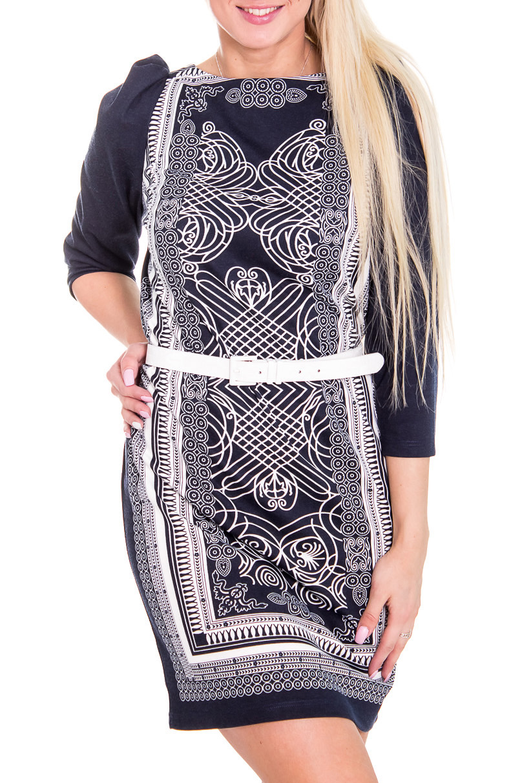 ПлатьеПлатья<br>Красивое жеское платье с круглой горловиной и рукавами 3/4. Модель выполнена из плотного трикотажа с красивым орнаментом. Отличный вариант для повседневного гардероба. Платье с поясом.  Цвет: синий, белый  Рост девушки-фотомодели 170 см<br><br>Горловина: С- горловина<br>По длине: До колена<br>По материалу: Вискоза,Трикотаж<br>По рисунку: Цветные,С принтом<br>По сезону: Весна,Осень,Зима<br>По силуэту: Полуприталенные<br>По стилю: Повседневный стиль<br>По элементам: С поясом<br>Рукав: Рукав три четверти<br>По форме: Платье - футляр<br>Размер : 44,46,48<br>Материал: Джерси<br>Количество в наличии: 3