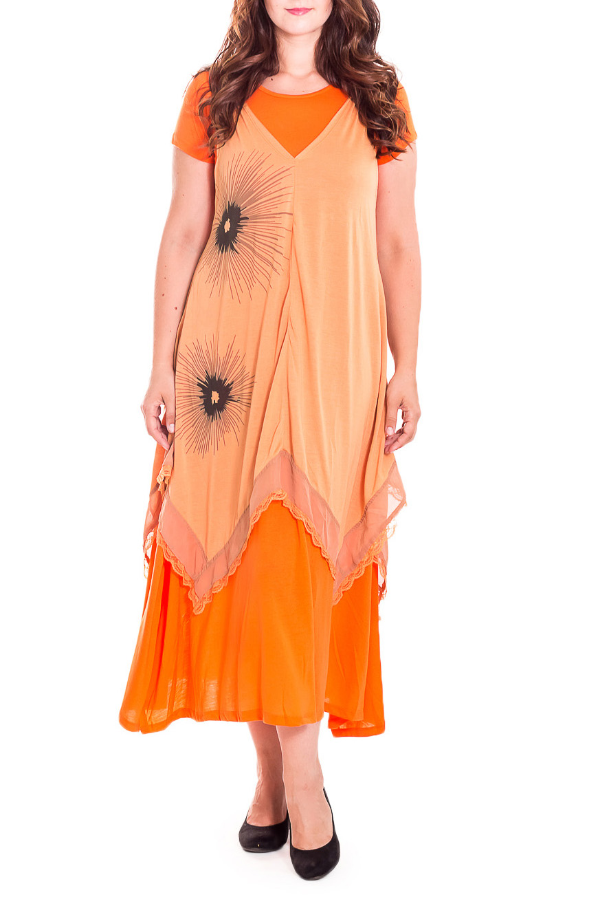 ДвойкаПлатья<br>Интересное платье-двойка. Модель выполнена из приятного трикотажа. Отличный выбор для любого случая.  В изделии использованы цвета: оранжевый, бежевый, коричневый.  Рост девушки-фотомодели 180 см.<br><br>Горловина: С- горловина<br>По материалу: Трикотаж<br>По рисунку: Цветные<br>По силуэту: Свободные<br>По стилю: Повседневный стиль<br>По форме: Платье - трапеция<br>Рукав: Короткий рукав<br>По сезону: Лето<br>По длине: Ниже колена<br>Размер : 52<br>Материал: Трикотаж<br>Количество в наличии: 1