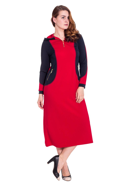 ПлатьеПлатья<br>Оригинальное платье в спортивном стиле. Модель с капюшоном, по бокам карманы на молнии.  Цвет: синий, красный  Рост девушки-фотомодели 180 см.<br><br>По образу: Город,Свидание,Спорт<br>По стилю: Спортивный стиль,Повседневный стиль<br>По материалу: Трикотаж<br>По рисунку: Цветные<br>По сезону: Весна,Осень<br>По силуэту: Полуприталенные<br>По элементам: С молнией,С капюшоном,С карманами<br>По форме: Платье - трапеция<br>По длине: Миди<br>Рукав: Длинный рукав<br>Размер: 48-50,52-54,56-58,60-62,64-66<br>Материал: 60% полиэстер 35% вискоза 5% эластан<br>Количество в наличии: 7