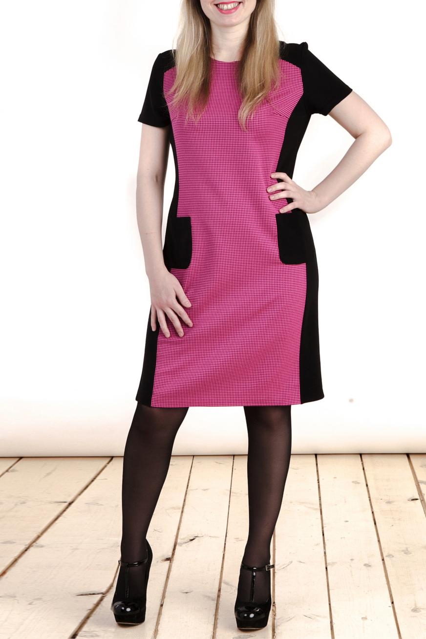 ПлатьеПлатья<br>Цветное платье с круглой горловиной и короткими рукавами. Модель выполнена из приятного трикотажа. Отличный выбор для любого случая.  Цвет: черный, розовый  Длина изделия: 46 размер - 89 см. 48 размер - 90 см. 50 размер - 91 см. 52 размер - 92 см. 54 размер - 93 см. 56 размер - 94 см.  Длина рукава 18 см.  Рост девушки-фотомодели 161 см<br><br>Горловина: С- горловина<br>По длине: До колена<br>По материалу: Вискоза,Тканевые,Трикотаж<br>По рисунку: Цветные<br>По силуэту: Полуприталенные<br>По стилю: Повседневный стиль<br>По форме: Платье - футляр<br>Рукав: Короткий рукав<br>По сезону: Осень,Весна<br>Размер : 46,48<br>Материал: Плательная ткань<br>Количество в наличии: 2