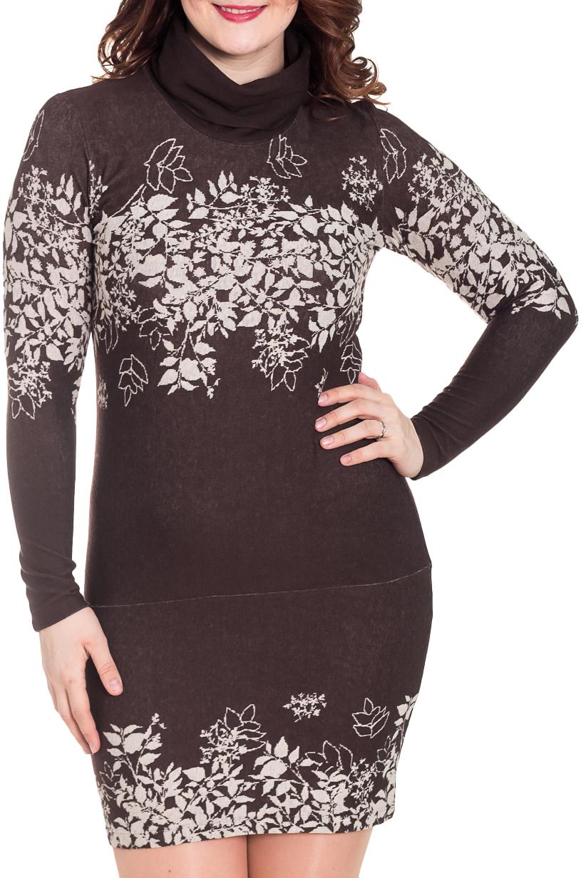 ПлатьеПлатья<br>Удобное женское платье полуприталенного силуэта. Модель выполнена из приятного трикотажа. Прекрасный вариант для повседневного гардероба.   Цвет: коричневый, бежевый  Рост девушки-фотомодели 180 см.<br><br>По длине: До колена<br>По материалу: Вискоза,Трикотаж<br>По рисунку: Растительные мотивы,Цветные,С принтом<br>По стилю: Повседневный стиль<br>Рукав: Длинный рукав<br>Воротник: Хомут<br>По сезону: Зима<br>По силуэту: Обтягивающие,Прямые<br>По элементам: С воротником<br>Размер : 46,48<br>Материал: Трикотаж<br>Количество в наличии: 3