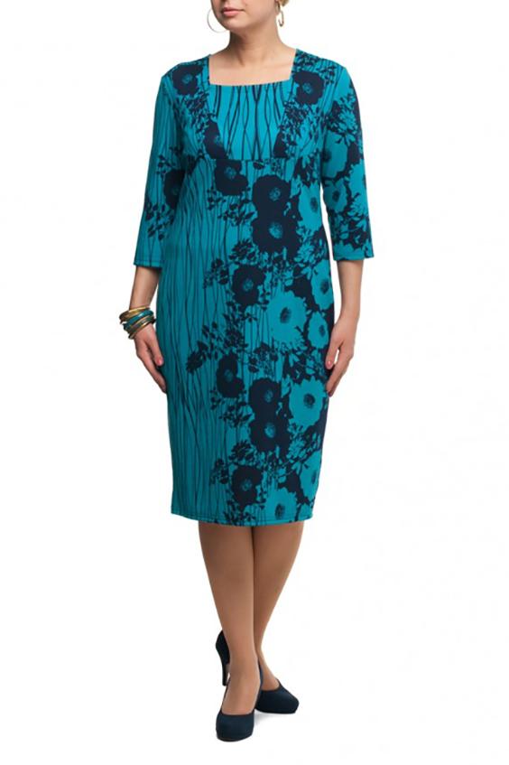 ПлатьеПлатья<br>Чудесное платье с квадратной горловиной и рукавами 3/4. Модель выполнена из приятного трикотажа. Отличный выбор для повседневного гардероба.  В изделии использованы цвета: голубой, синий  Рост девушки-фотомодели 173 см.<br><br>Горловина: Квадратная горловина<br>По длине: Ниже колена<br>По материалу: Трикотаж<br>По рисунку: Растительные мотивы,С принтом,Цветные,Цветочные<br>По силуэту: Приталенные<br>По стилю: Повседневный стиль<br>По форме: Платье - футляр<br>Рукав: Рукав три четверти<br>По сезону: Осень,Весна,Зима<br>Размер : 48,50,54,56,62,64,66,68<br>Материал: Джерси<br>Количество в наличии: 8